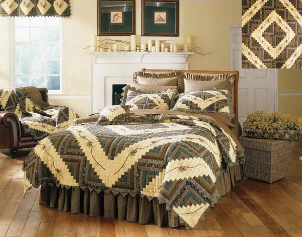 Barn Raising Pine Cone Log Cabin Quilts Quilt Bedding