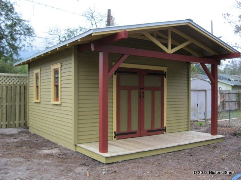 craftsman shed 12x12 with 4 porch from historic shed company in - Garden Sheds Florida