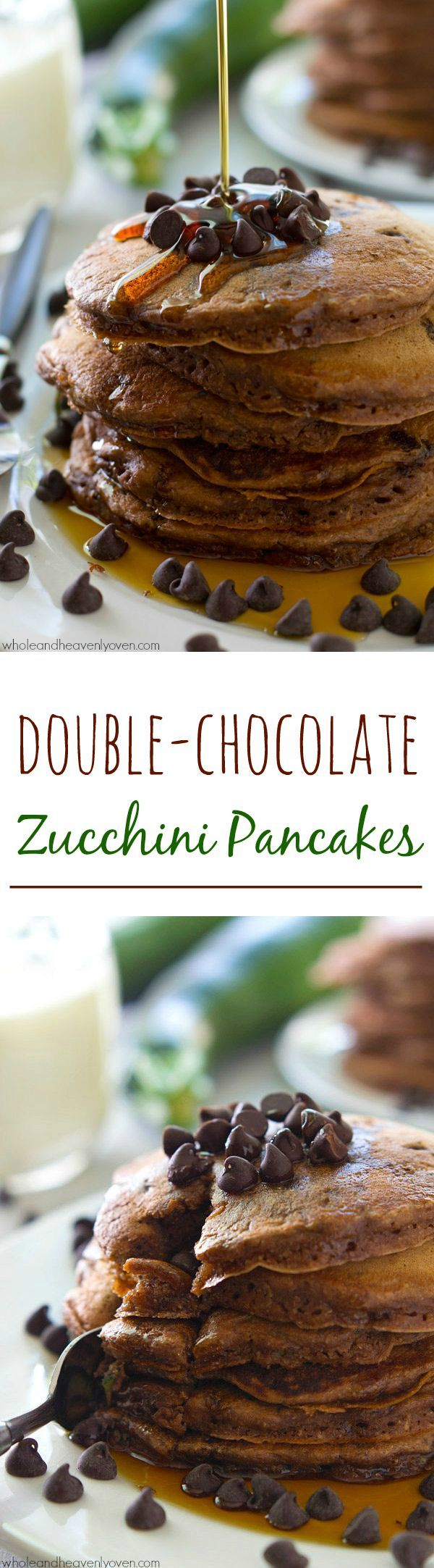 Unbelievably moist and fluffy and loaded with a double-delight of chocolate, nobody will ever guess that there's zucchini hiding inside these dynamite pancakes! @WholeHeavenly