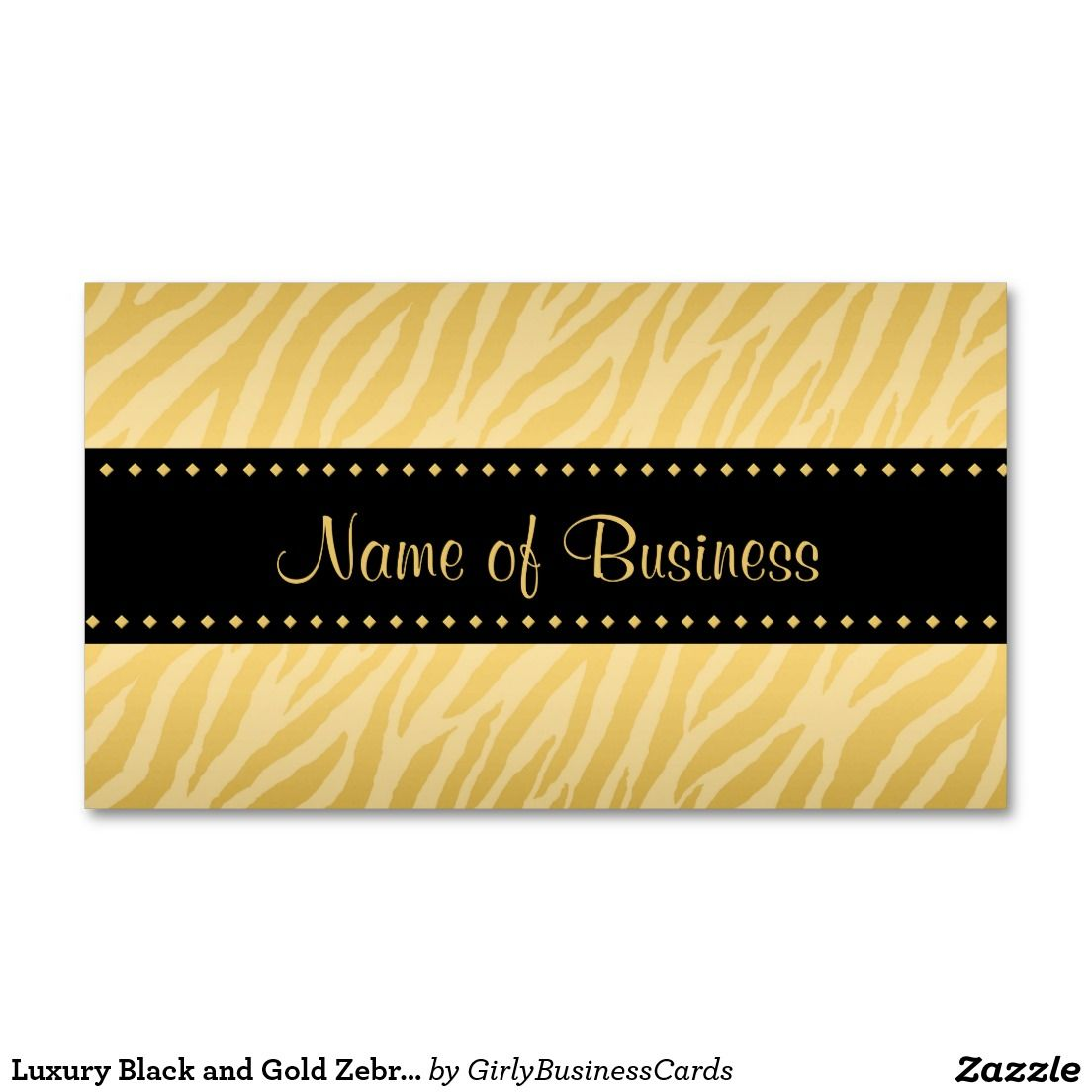 Luxury Black and Gold Zebra Print Double-Sided Standard Business ...