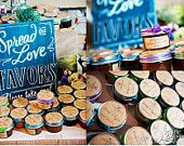 Love the blue in this cute wedding jam favor display!