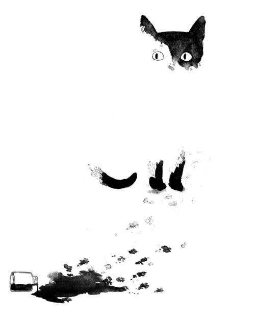 Kat Philbin Illustration Katze Katzen Kunst Aquarell Katze