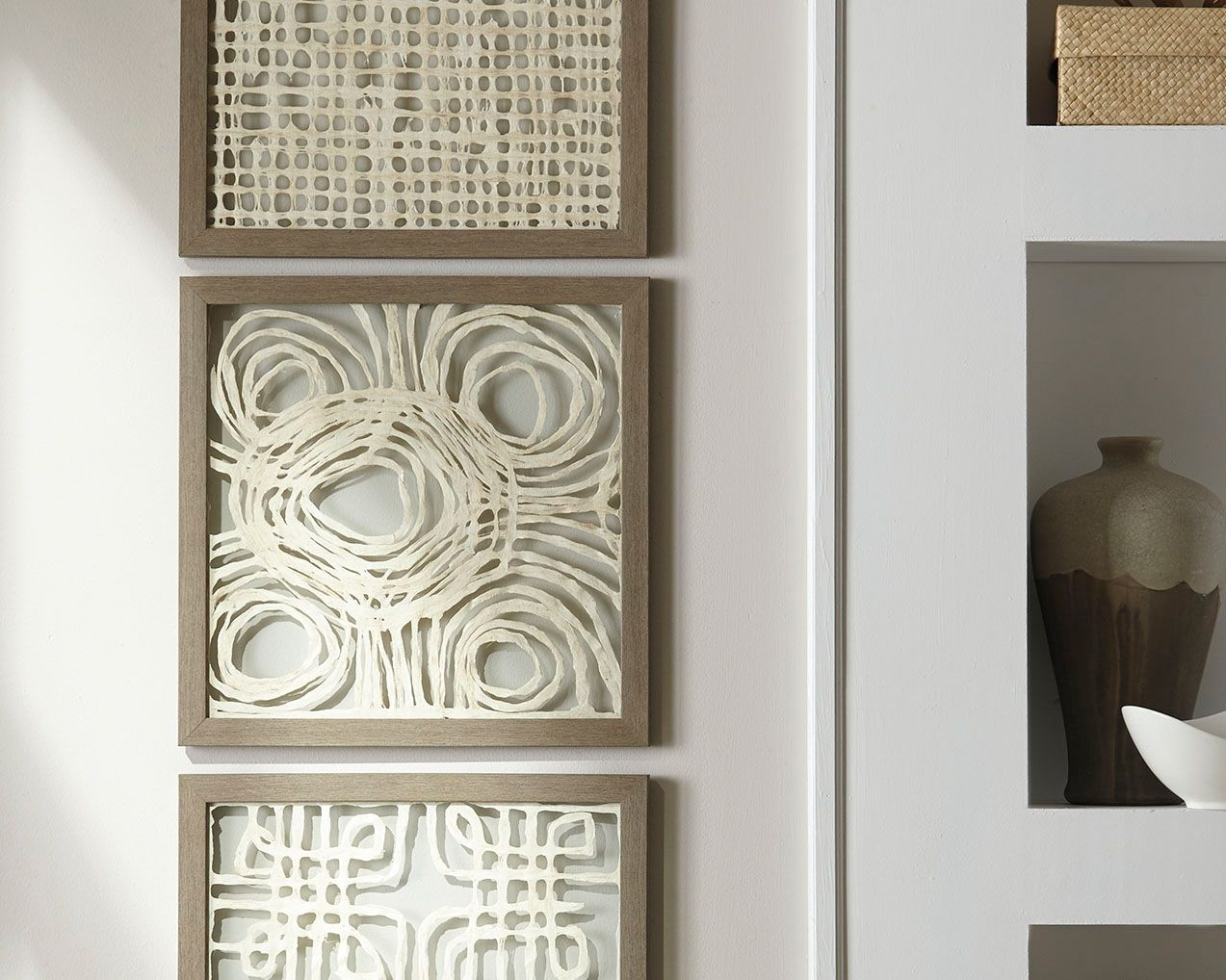 Odella Wall Decor Set Of 3 Cream Taupe In 2020 Paper Wall Art Taupe Walls Decor