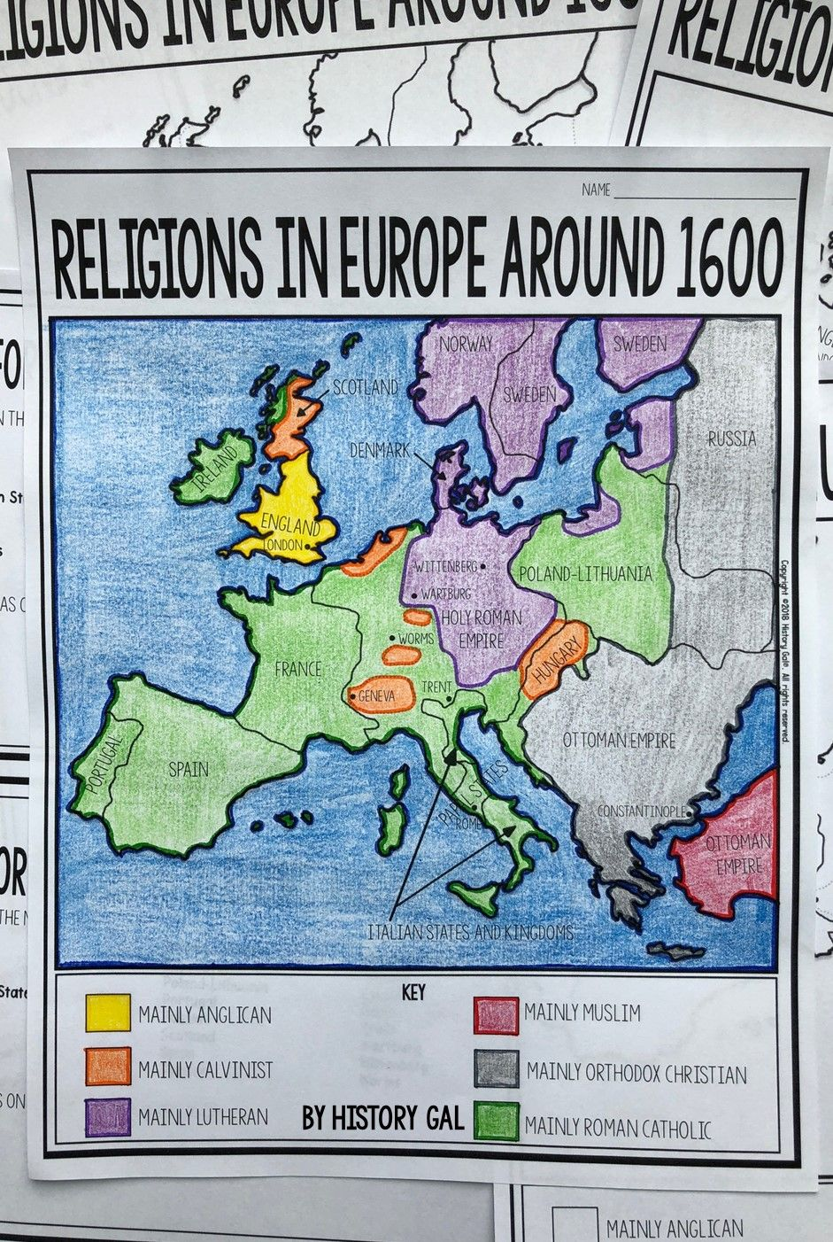 Protestant Reformation Map Activity History Gal Pinterest Map