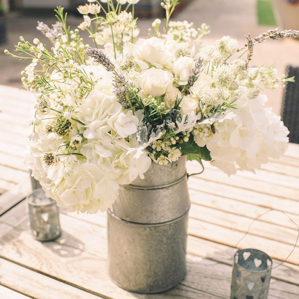 Garden wedding stage decoration  Silver Milk Churn Table Centre  Wedding Centre pieces and Centerpieces