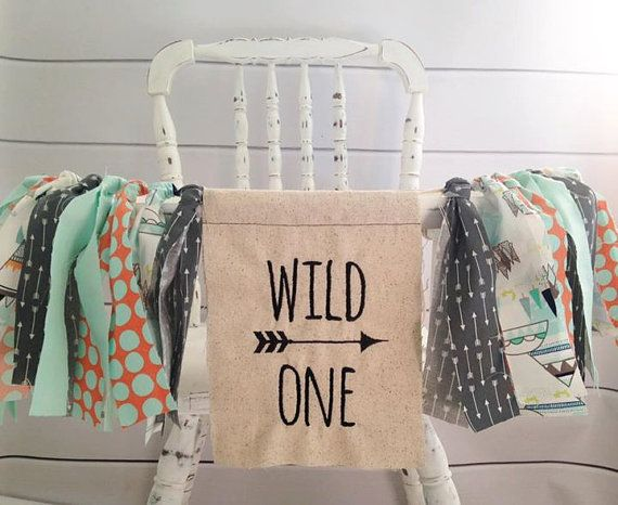 High Chair Banner Wild One First Birthday Fabric S