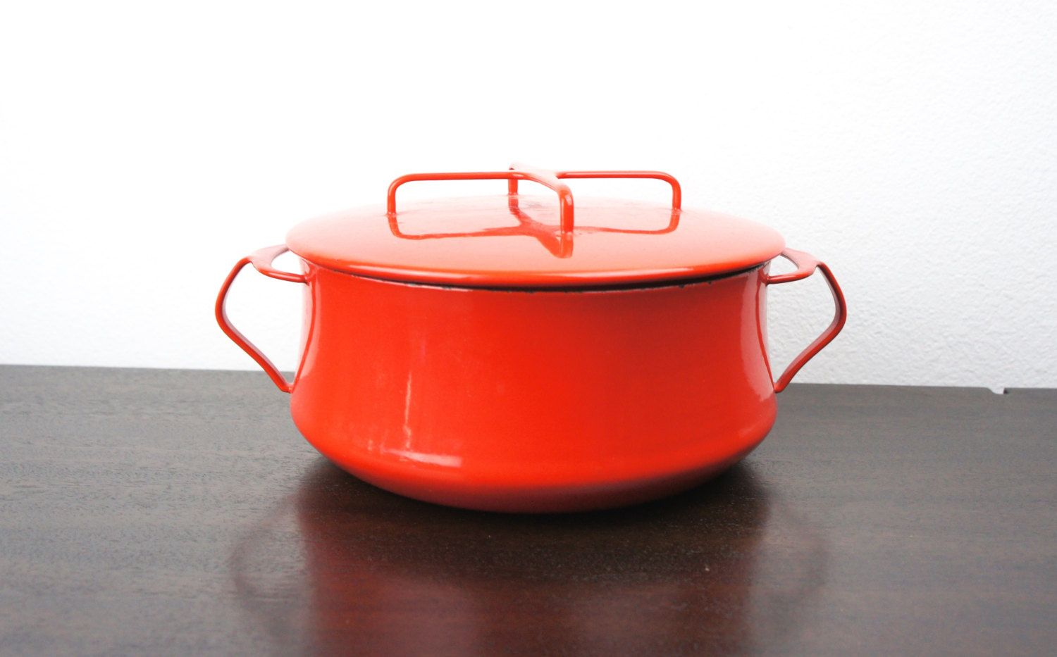Vintage Dansk Kobenstyle 3 75 Qt 8 5 In Red 8 5 Dutch Oven Enameled Steel Medium Mid Century Enamelware Enamelware Enameled Steel Jens Quistgaard