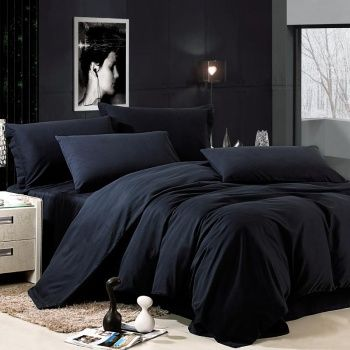 Luxury All Black Solid Pure Color Simply Shabby Chic Damask Full Queen Size Bedding Sets