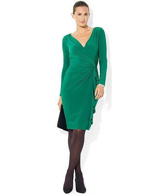 Lauren Ralph Lauren Long-Sleeve Ruffled Jersey Dress - Clearance - Women -  Macy's