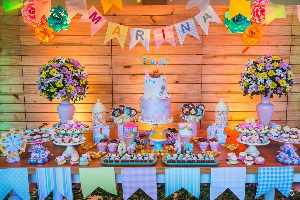 festa-infantil-tema-junina-bolo-festa-cores-decoração-arraiá ... a7aba9df436