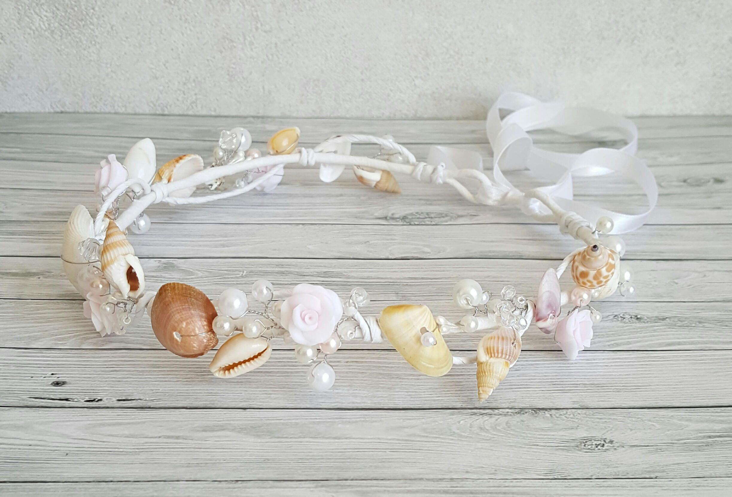 Beach Bridal Tiara Wedding Seashell Headpiece Pearls Beach Crown