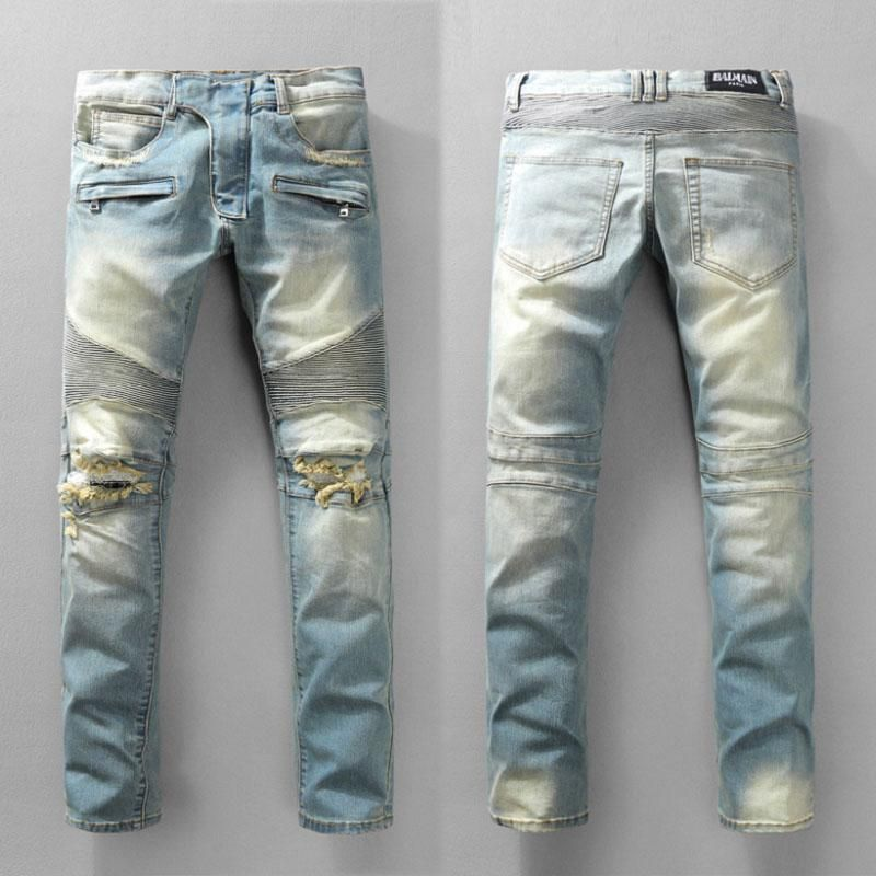 Distressed Brand France Fashion Pierre Balmain Jeans Men s Balmain Biker  Jeans Hole Ripped Stretch Denim Balmai Casual Jean Men Skinny Pants de6d2959031e1