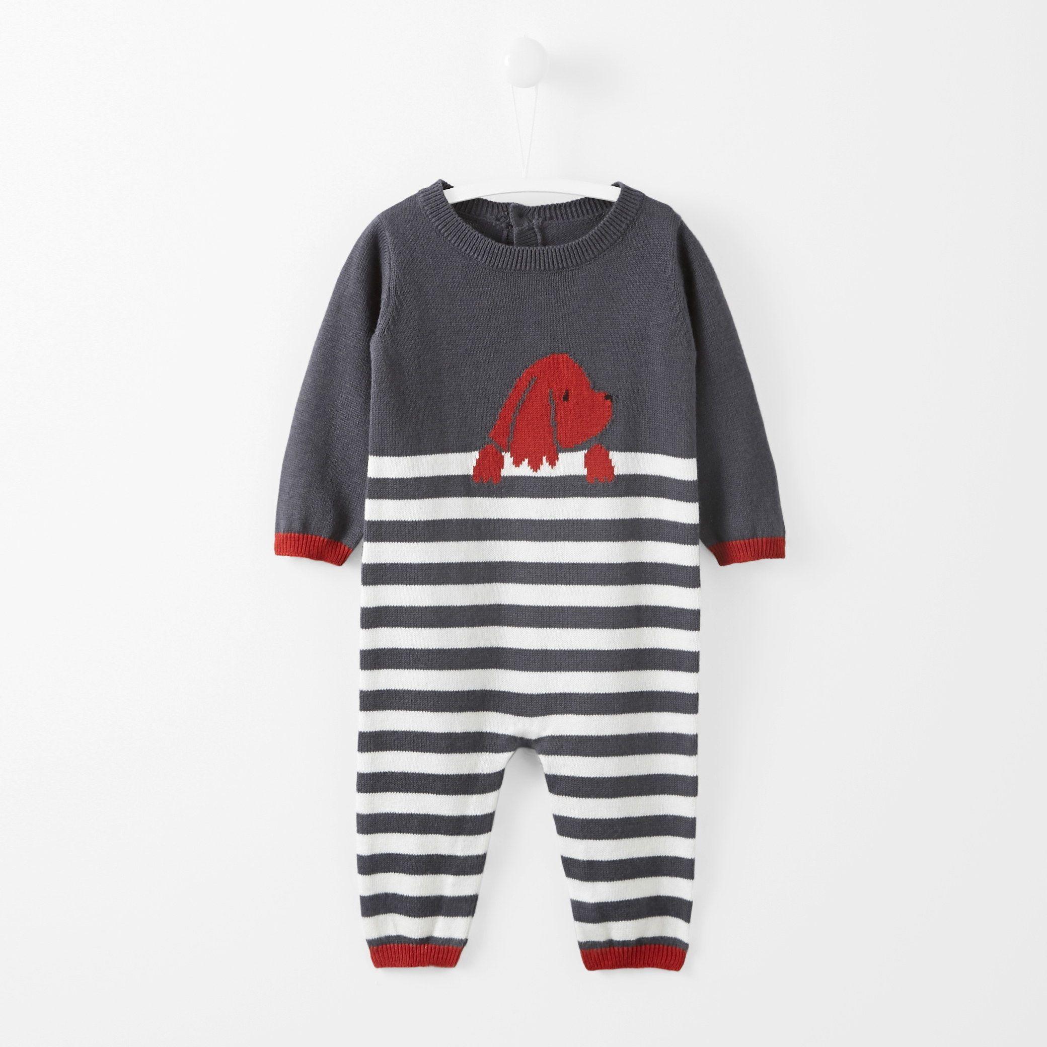 bad3ba4e4 Striped dog motif jumpsuit