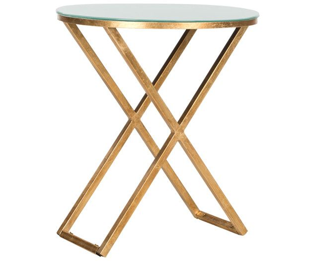 Riona Accent Table S Bold Clic Style Embos The Polished Aesthetic Of Antiquity Crafted With A Forged Iron Base In Gold Leaf Finish And Black Gl