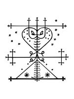 """Veve:  A Veve or Vévé (also spelled beybey and vever) is a religious symbol commonly used in voodoo. It acts as a """"beacon"""" for the loa (also spelled lwa) - a type of spirit, and will serve as a loa's representation during rituals. In the past, it was believed that the veve was derived from the beliefs of the native Tainos, but more recent scholarship has demonstrated a close link between the veve and the cosmogram of the Kongo people."""