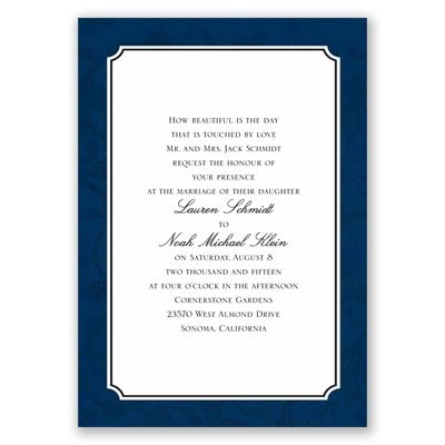 Faded Flourishes - Navy - Wedding Invitation