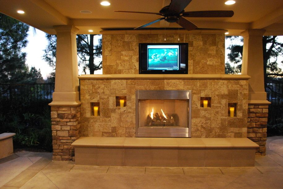 Outdoor Fireplace Design And How To Build It: Elegant Outdoor Fireplace  Design With Wall TV