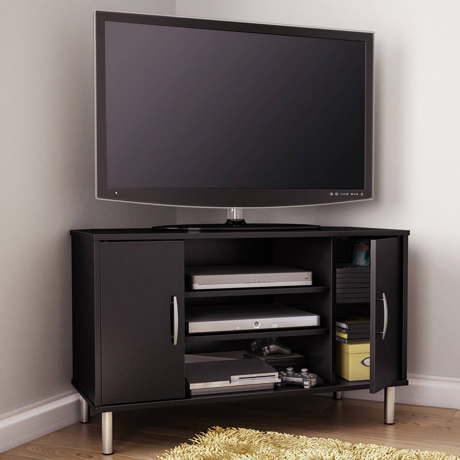 south shore renta corner tv stand for tvs up to 42 inch multiple finishes black - Corner Tv Stands 50 Inch