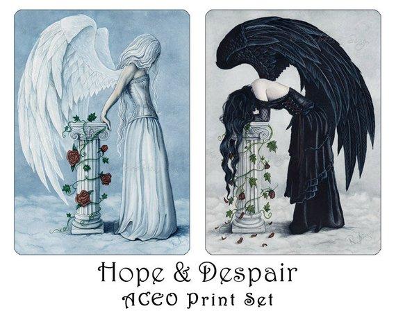 Gothic Angel Fantasy Art ACEO PRINT Despair Sad Black Column roses wings dress