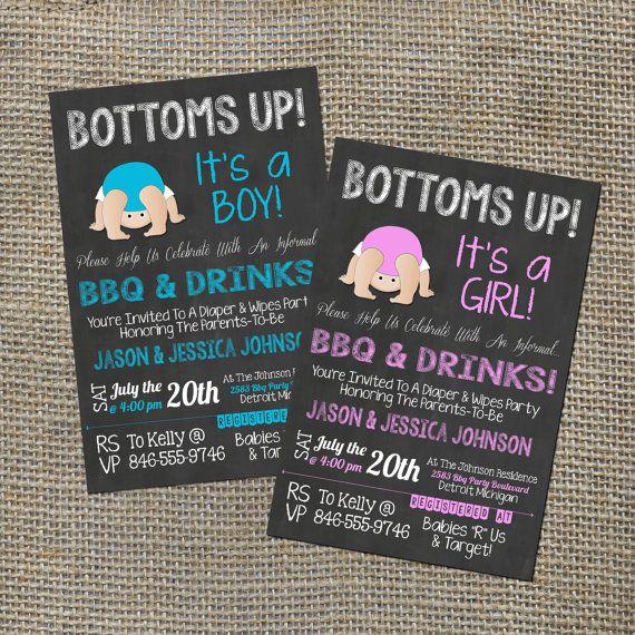 Bottoms Up Baby Shower Q Babyque BBQ Invitation