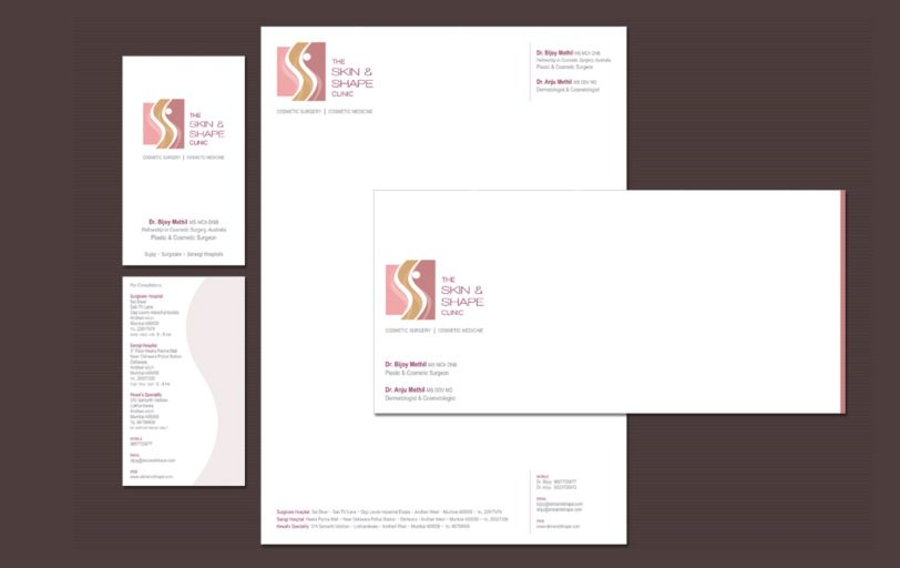 Identity Design for a Skin and Shape Clinic. Skin and Shape Clinic offers complete one stop solution for all your cosmetic needs to revive & recharge one's life. The three main layers of our skin Epidermis, Dermis and Hypodermis are incorporated in the logo with three different layers and colors. The curves in the logo give a human touch as well as reflect the company's initials S&S.
