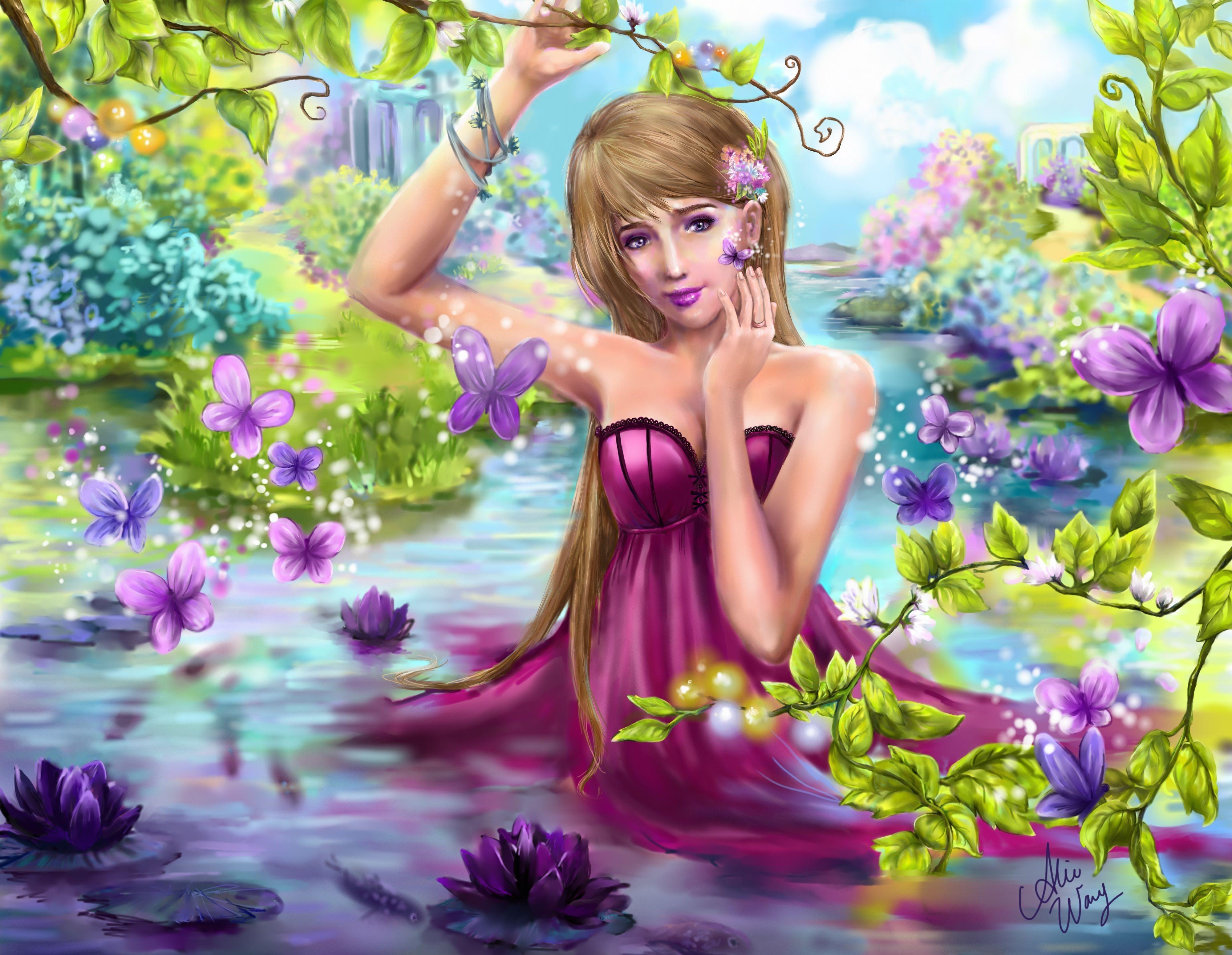 Fantasia de muchacha entre lirios de agua y mariposas.