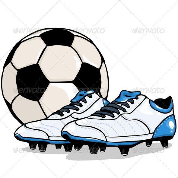 Vector Football Ball And Boots Football Ball Football Drawing Soccer Drawing