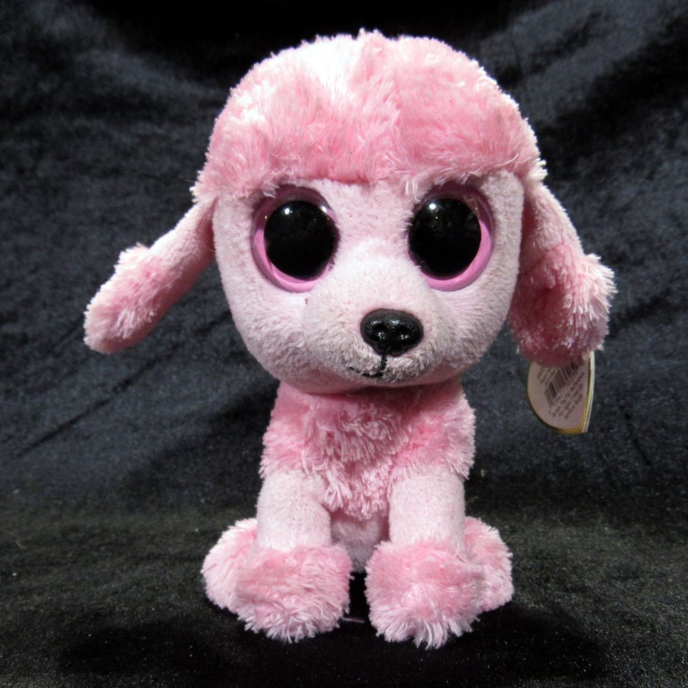"Ty Princess Light Pink Poodle Dog 6"" Beanie Boo! Retired Solid Color Eyes  2013  Ty 23043e17c989"