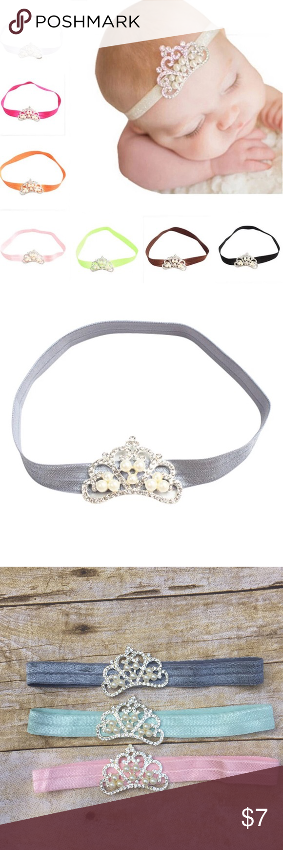 Princess headband These are just too sweet! Gorgeous princess baby girl crystal pearl headband. Available in the 3 colors shown above. Perfect for that photoshot! Accessories Hair Accessories