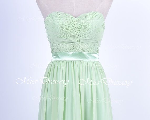 Strapless Sweetheart Long Mint Chiffon Prom by MissDressesy, $159.00