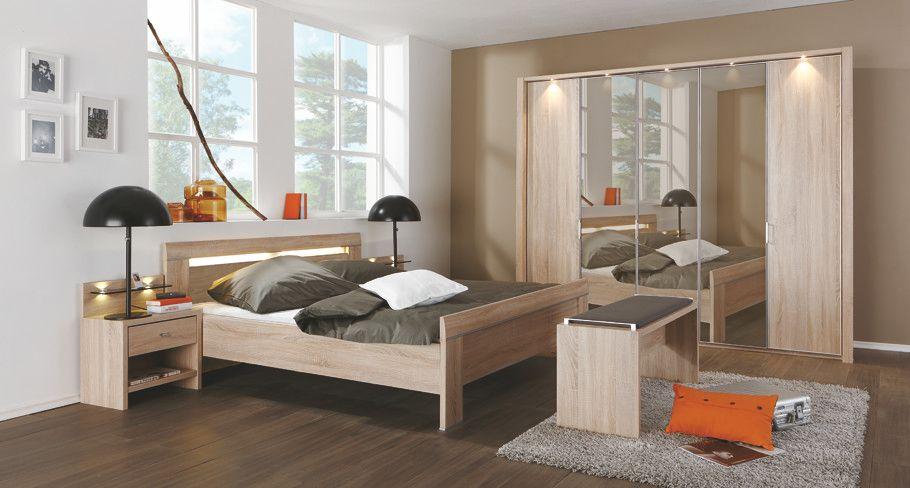 Schlafzimmer Mit Bett 180 X 200 Cm Eiche Sägerau Woody 138-00021 - komplette schlafzimmer modern