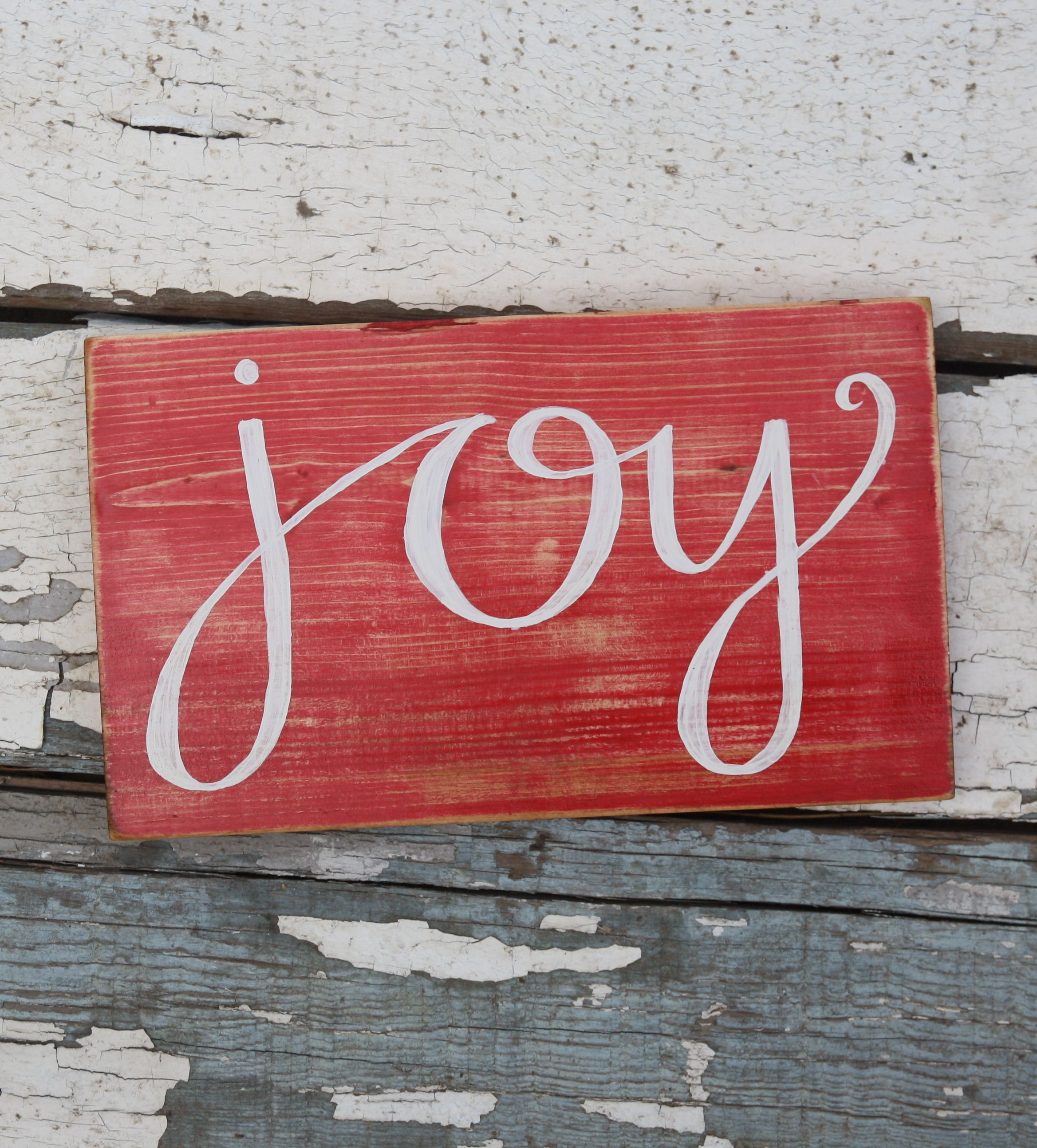 Joy Christmas Decor Hand Painted Wood Sign By Kicks