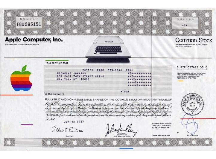 Apple Computer Inc First Certificate Type With Apple Ii With John Scully As President California 1987 Stock Options Stock Certificates Start Up