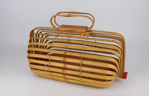 Mid Century Bamboo Purse Folding Japanese Bamboo Handbag Bamboo