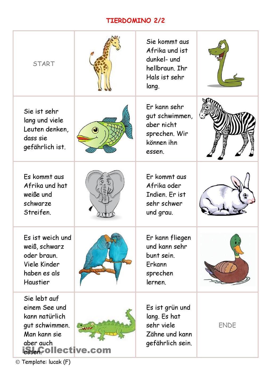 Tierdomino2/2 | Deutsch, Schule und Kinder lernen