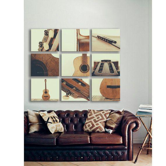 Guitar Wall Art Acoustic Parts Vintage Color Tone Set Of Nine Stretched Canvas Prints Music Theme Room Decor