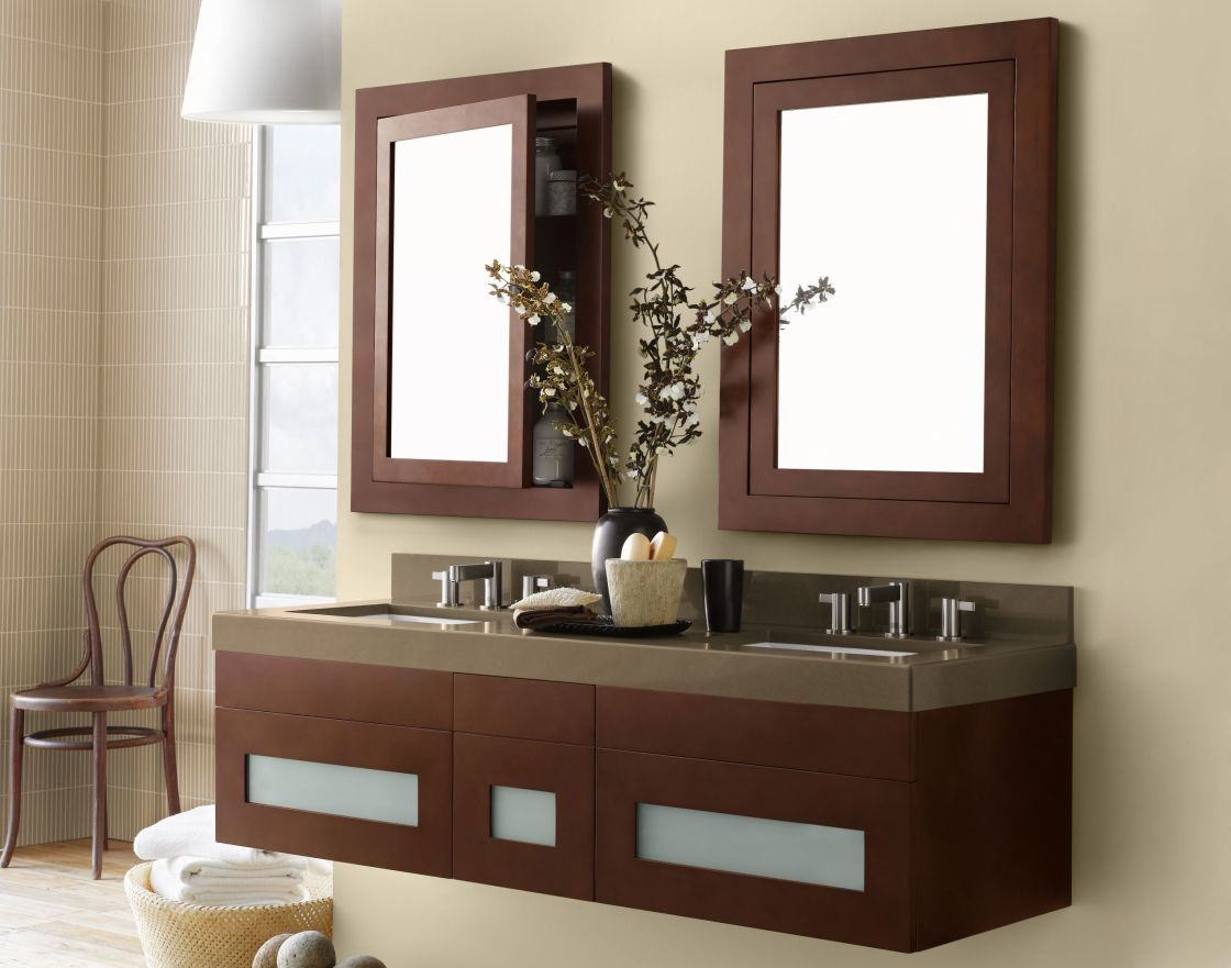 exciting design interior of wall mounted dark brown wooden double