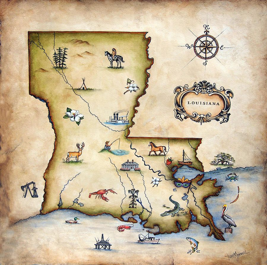 Louisiana Art Louisiana Map Painting By Judy Merrell Louisiana