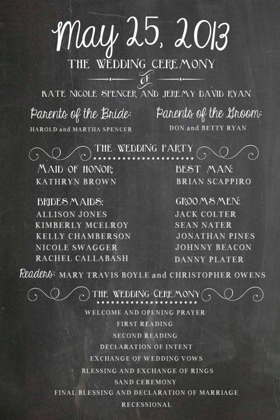 Wedding Program Party and Ceremony Chalkboard Printable - DIY ...