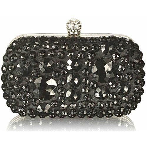 Ladies Diamante Rain Drop Clutch Bag Bridal Formal Party Glitter Handbag