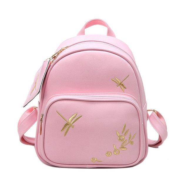 b0e2935ba7 fashion women leather backpack set handmade embroidery dragonfly floral  school bags for girls small newest female backpacks 3157