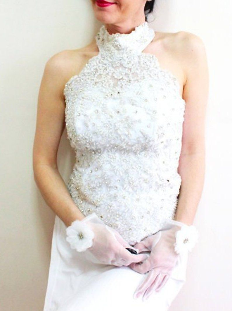 Ivory Lace Wedding Dress Top Embroidered Bridal Gown Halter Crop Top Embroidery Wedding Gown Wedding Separate Unique Christmas Wedding Gifts Crop Top Wedding Dress Ivory Lace Wedding Dress Wedding Dresses Lace