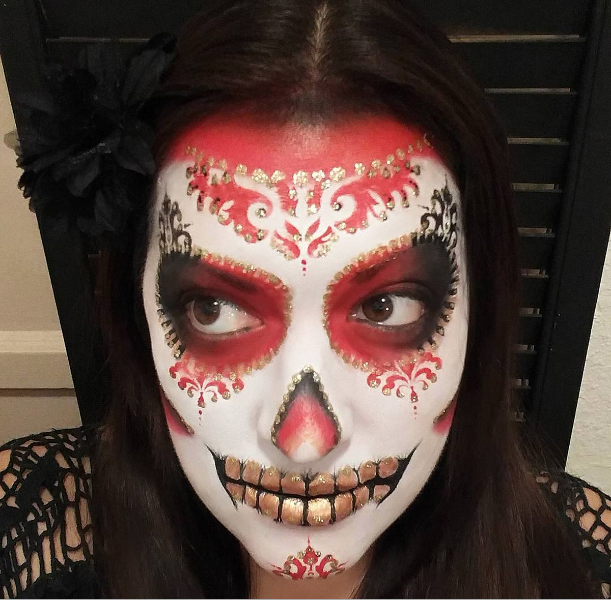 red black gold and white sugar skull day of the dead face paint face painting by glitter goose - Halloween Day Of The Dead Face Paint