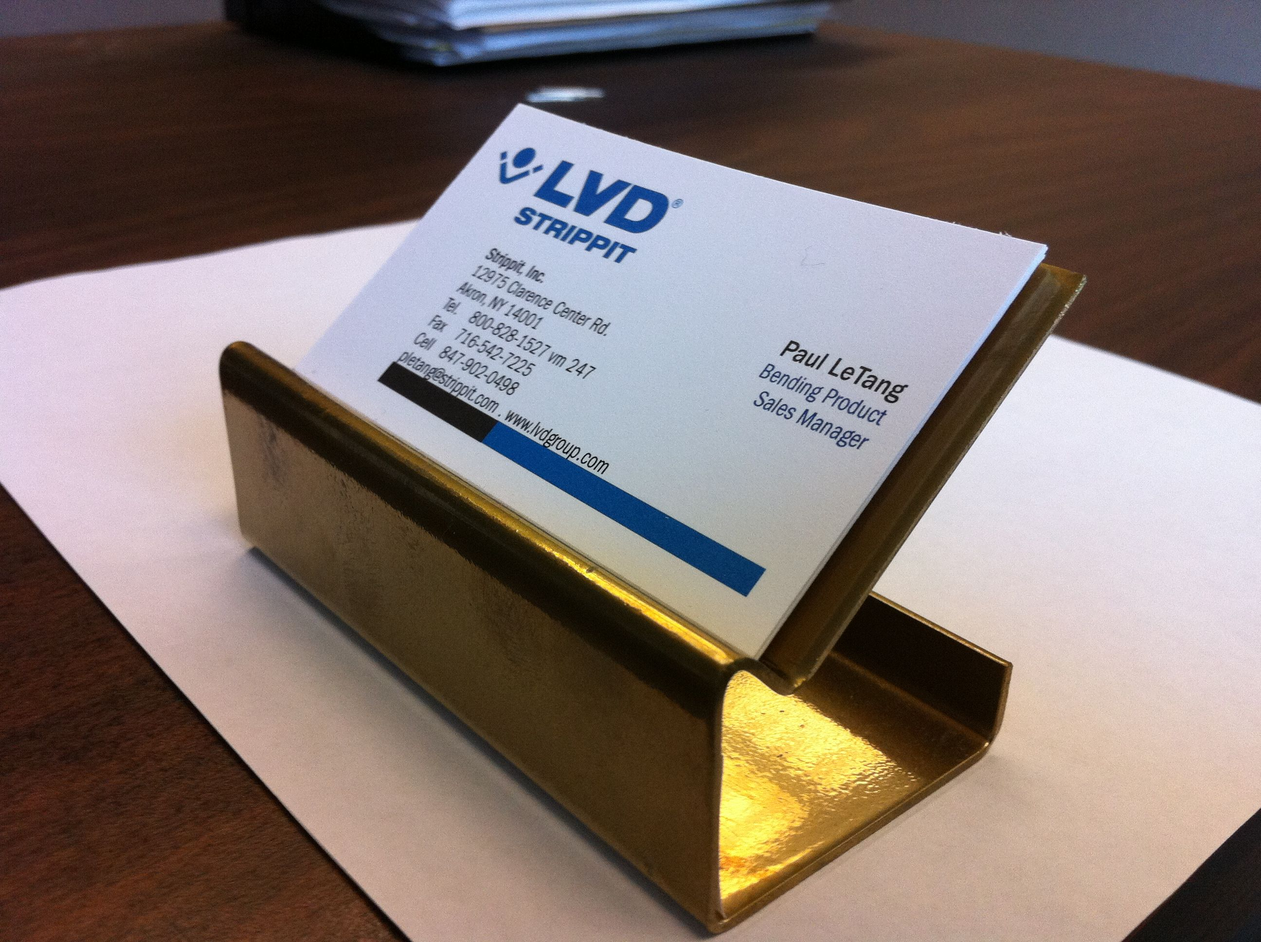 One of a kind business card holder made from scrap metal with just a ...