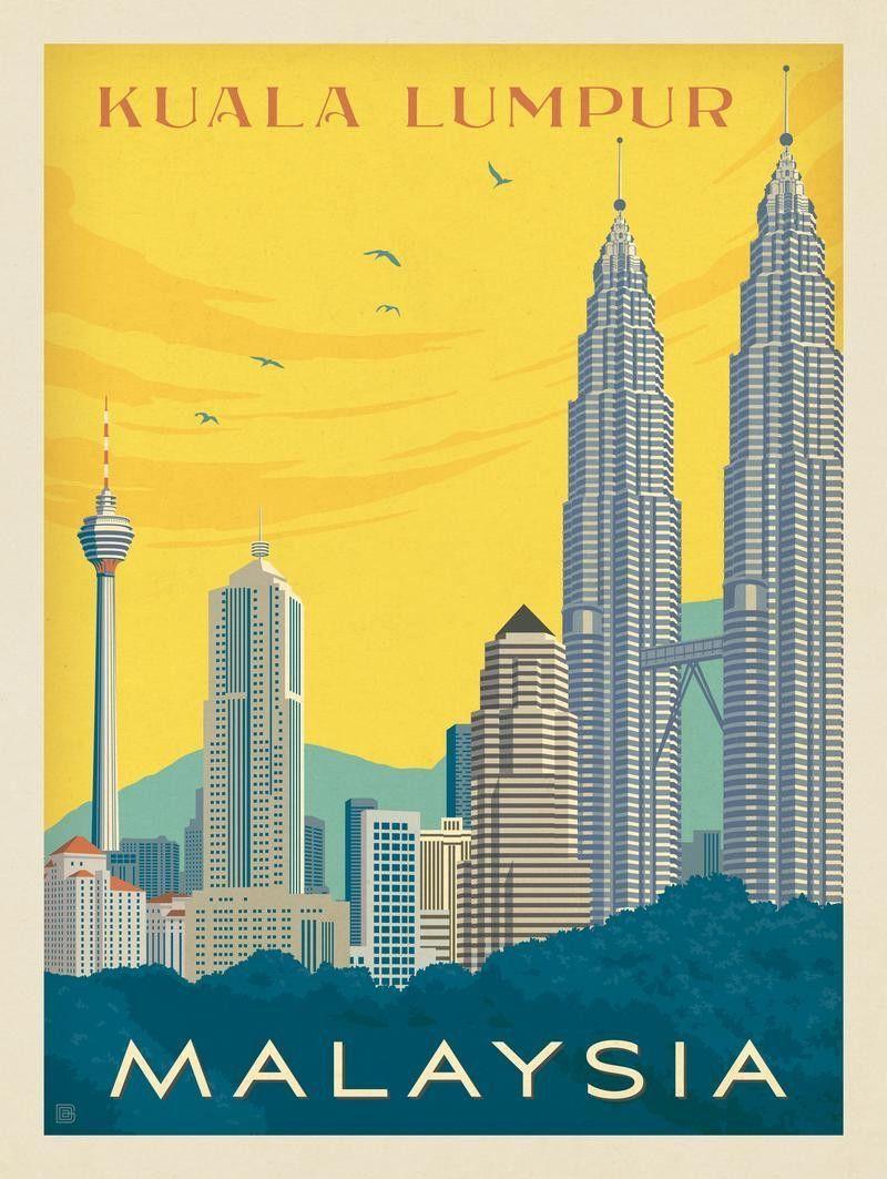 Poster print city of kuala lumpur Malaysia skyline A1 Poster