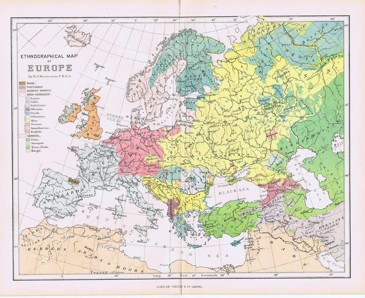 Map Of Russia 1880 1880 Ethnographic Map Of Europe My Family