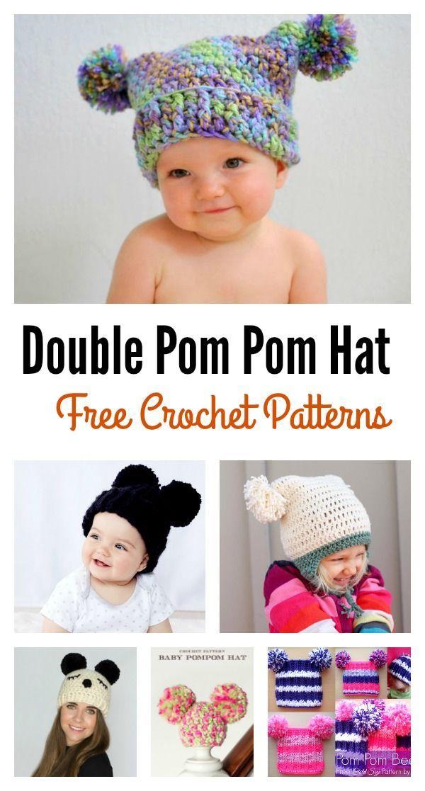 Double Pom Pom Hat Free Crochet Patterns for Beginners | Pinterest ...