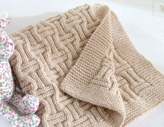 Double Knitting Pattern For Baby Blanket : Knitting Pattern Baby Blanket Reversible Basketweave ...