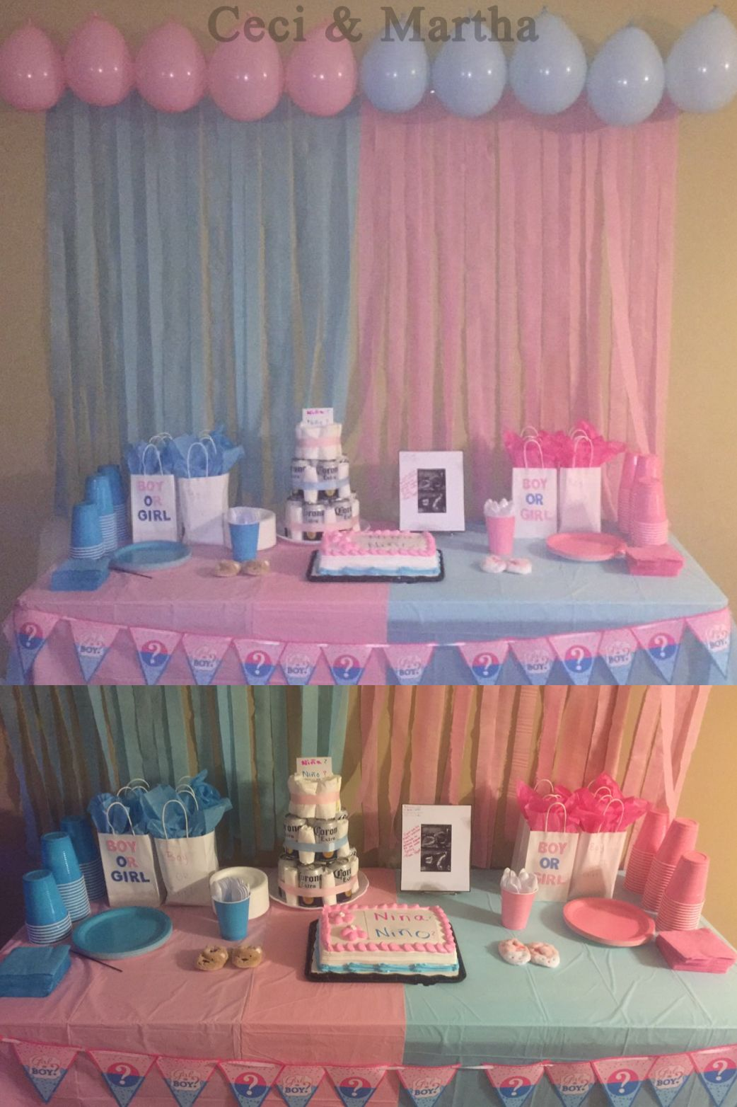 Gender Reveal Party Dessert Table And Decor Baby Gender Reveal Party Gender Reveal Party Theme Baby Reveal Party