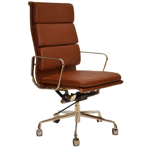 Retro Eames Style Tan Brown Leather Office Chair